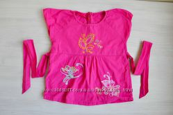 Туника футболка блузка с вышивкой на завязочках 4-5 лет