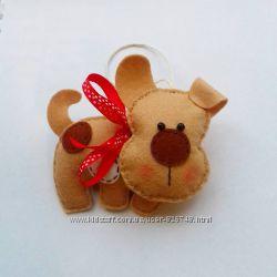 Собака 2018 Новогодний подарок игрушка из фетра