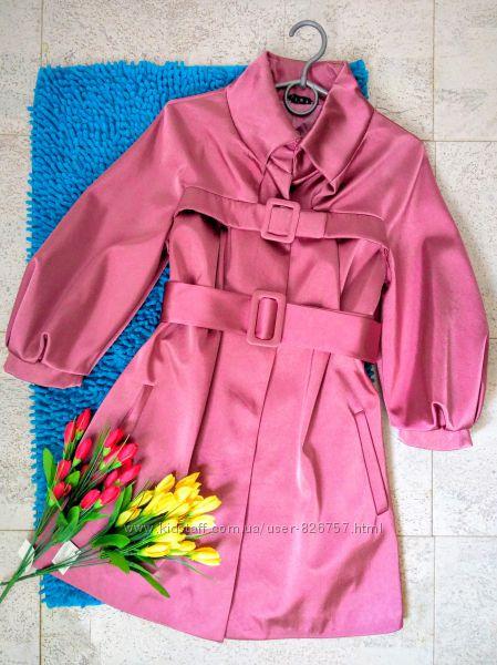 Супер стильный лиловый фуксия плащ пальто с укороченным рукавом 34