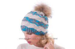 Очаровательная шапка помпон енот шерсть