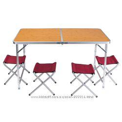 Стол туристический, алюминий, пластик, 4 стула, 120607055cm