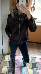 DENIM Co-косуха-дубленка короткая коричневая куртка на меху-38р