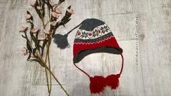 Зимняя шапка-ушанка с завязками с орнаментом, утепленная флисом
