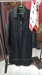 Буклированное черное макси пальто от HennesH&Mдлинноес карманами