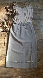 Серая класическая юбка для офисамидидлина ниже колена-L-ка