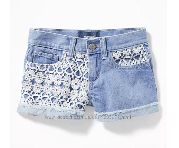 Красивые джинсовые шорты с кружевом Олд Неви, размер 12л. Lace-Trim