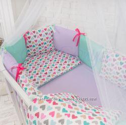 Комплект Baby Design цветные сердечки на овальную кроватку