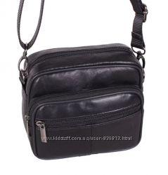 Кожаная мужская сумка через плечо Барсетка 14х16х8см