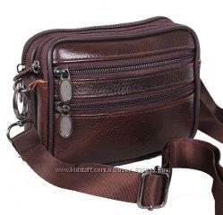 Кожаная мужская сумка через плечо барсетка на пояс Премиум кожа 12х16х5см