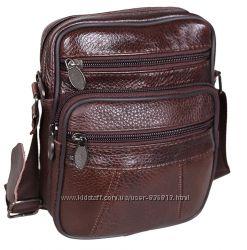 Кожаная мужская сумка Bon R010-1 коричневая барсетка через плечо 19х16х8см