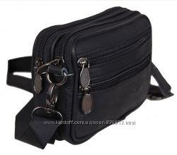 Кожаная мужская сумка Bon9947-1 барсетка через плечо на пояс кожа 12х16х5см