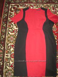 умное платье красный и чёрный классика