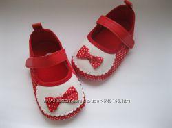 красивые красные туфельки-пинетки с бантом стелька 12, 5 см