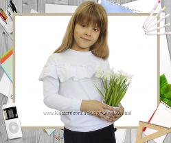 Блуза с длинным рукавом школьная рост 116-140