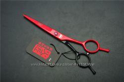 Ножницы 5. 5 KASHO парикмахерские прямые чёрные с красным
