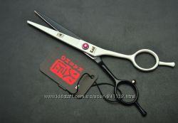 Ножницы 5. 5 KASHO парикмахерские прямые чёрные с белым