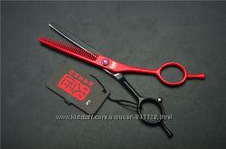 Ножницы 5. 5 KASHO парикмахерские  филировочные чёрные с красным