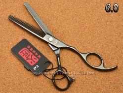 Ножницы 6. 0 парикмахерские KASHO  филировочные чёрный глянец