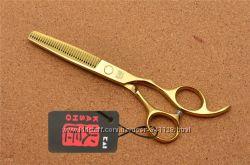 Ножницы 5. 5 парикмахерские KASHO филировочные золотое напыление 5. 5 дюймо
