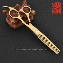 Ножницы 6. 0 парикмахерские KASHO филировочные золотое напыление