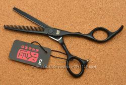 Ножницы 5. 5 парикмахерские KASHO филировочные чёрные