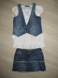 класний наборджинсова спідничка некст на 6рок блуза 6-7