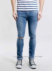 S-M, поб 46-48, узкачи рваные джинсы скинни Topman  джинсы без бумажных э