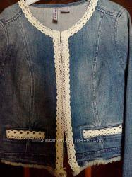 Шикарный новый джинсовый жакет, размер s наш 42