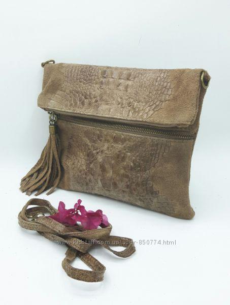Итальянские женские сумки. Кожа, замша. Кроссбоди.