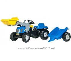 Трактор на педалях с прицепом и ковшом Rolly Toys NEW HOLLAND 23929