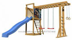 Детские площадки для улицы с горкой,  гладиаторской сеткой, скалолазкой
