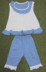 Летний комплект для девочки. Ткань жатка. Размер на возраст 4-6 лет