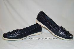 Мокасины женские, кожаные, синие Marks Spencer размер 37 UK4