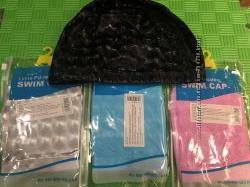 Подростковая комбинированная шапочка для плаванья ткань-силикон Langzhisha