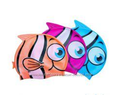 Детская силиконовая шапочка для плаванья - Рыбки. Универсальная 3-7л