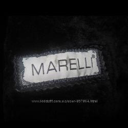 Дубленка qin mark Кожаная на овчине с норковым отложным воротником MARELLI
