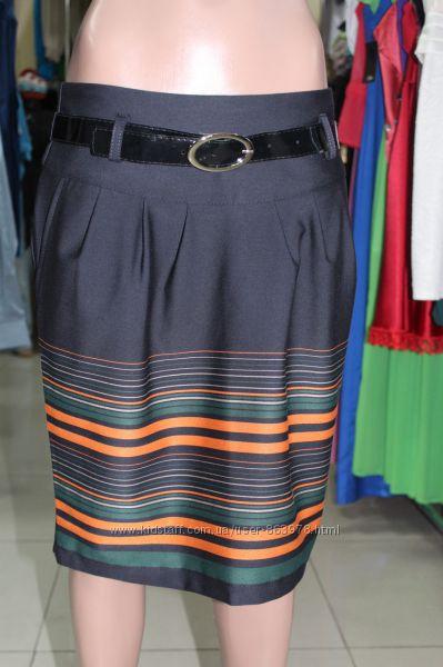 Молодежная юбка с полосами, распродажа, без пояса, наш 44-46