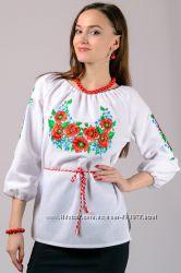 Вышиванка женская Маки и васильки, жіноча вишита сорочка, р. 44, 46, 48, 50