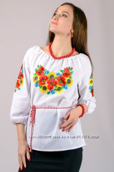 Вышиванка женская Маки Подсолнух, жіноча вишита сорочка, р. 44, 46, 48, 50