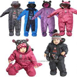 Слитные детские зимние комбинезоны для мальчиков девочек термо бренд ПЕЛЮШ