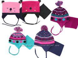 Детская зимняя шапка на флисе с  манишкой бренд ПЕЛЮШ Канада все размеры
