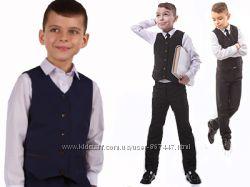 Школьный жилет для мальчика черный синий на рост 104 -176 школьная форма