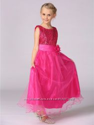 Платье нарядное для девочки, пайетки, платье в пол