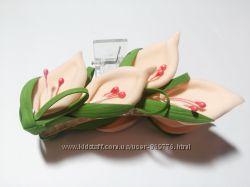 заколка-краб Каллы персиковые