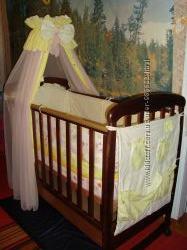 Кроватка детская Соня ЛД-1  цвет-орех ТМ Верес, матрац, постельное белье