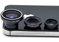 Набор линз объективов для телефона универсальные 3 в 1  FishEye Lens фишай