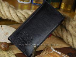 Мужской качественный кожаный кошелек портмоне клатч Woerfu черный