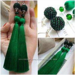 Серьги-кисти Изумрудная Мечта Lilei Jewelry ручная работа