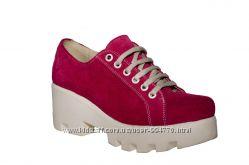 Туфли женские из натуральной замши на платформе