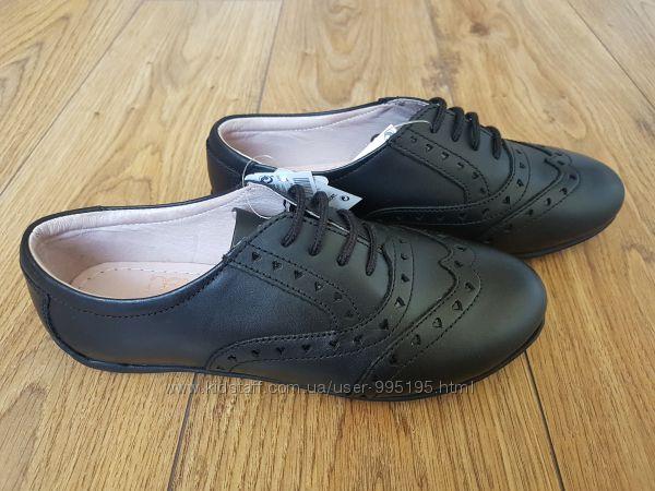 Кожанные туфли-броги на девочку